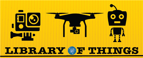 Library of Things Logo with graphics that show robotics and equipment