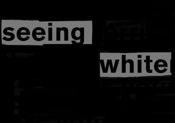 There is a black background with two white outlines of tape with seeing white in black text.