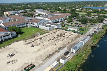 A top angle view of the new building in progress