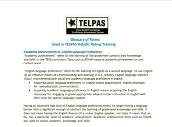 Glossary of Terms Used in TELPAS Holistic Rating Training
