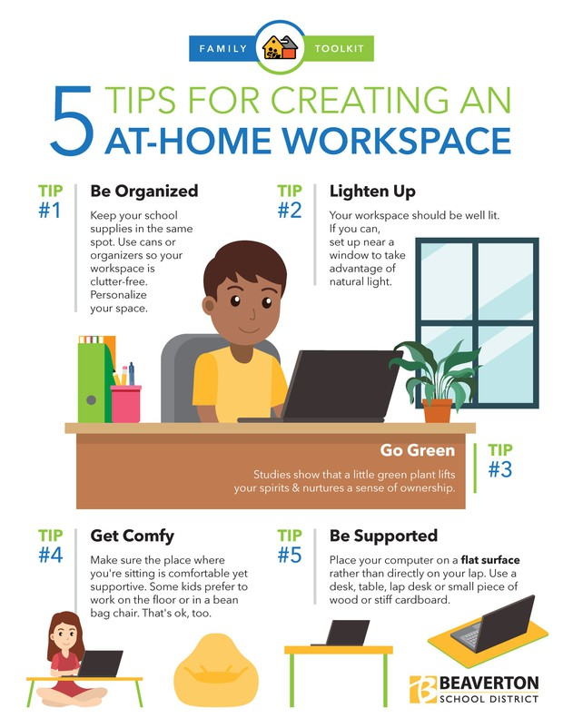 5 Tips for Creating an at home work station info graphic