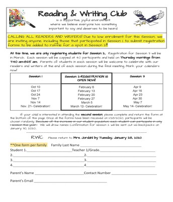 Reading & Writing Club Session 2 Registration - due January 28th
