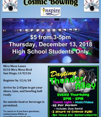 Mira Mesa Bowling HIGH SCHOOL FIELD TRIP