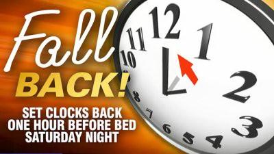 Time change - set clocks back one hour saturday night