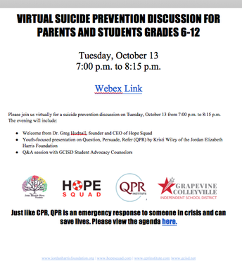 VIRTUAL SUICIDE PREVENTION DISCUSSION FOR PARENTS AND STUDENTS GRADES 6-12