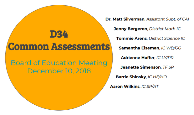 D34 Common Assessments Presented to the Board of Education