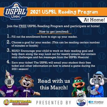 READ WITH USPBL & EARN  BASEBALL TICKETS