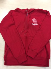 Zip-Up Hoodie-Red