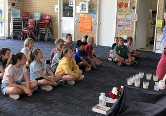 Sr Catherine speaking with the Year 6 students