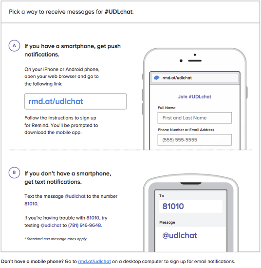 Graphic describing how to sign up for #UDLchat reminders