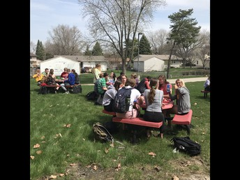 UHS students enjoying outside seating at lunch
