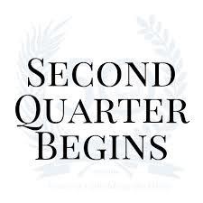 Second Quarter Here We Come!!