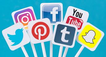 Image of multiple social media logos on sticks