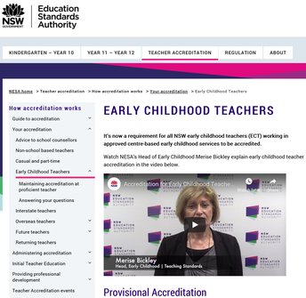 NESA: Early Childhood Teachers Accreditation
