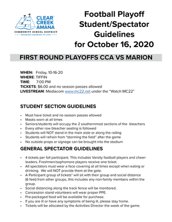 playoff spectator guidelines