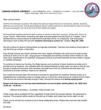 COV-19 School Closure through May 4th