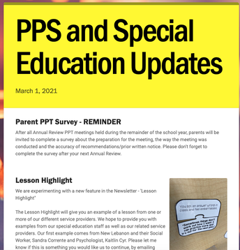 Special Education Update Newsletter screenshot of the March 1, 2021 edition