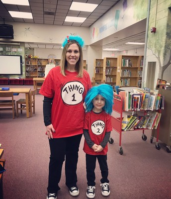 Mrs. Morris and Jentry dressing up for Dr. Seuss Week.