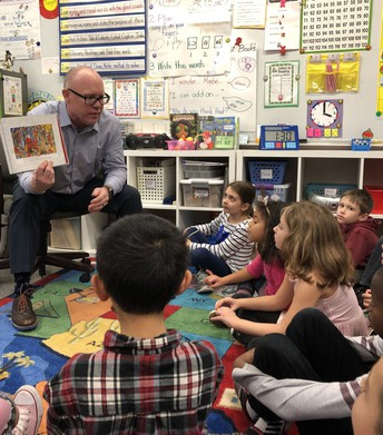 Mr. Wolcott visits 1st grade