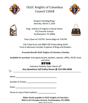 Knights of Columbus Designer Handbag Bingo
