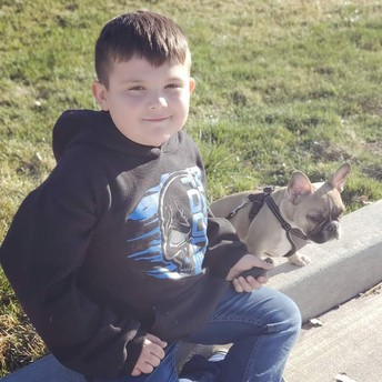 Jaxxyn with his dog, Rocky!