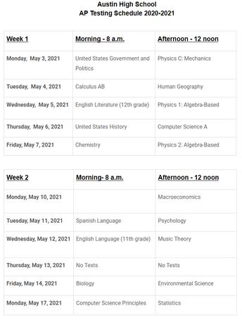 AHS AP Testing Schedule