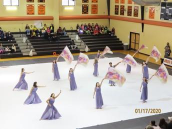 image of junior varsity colorguard performers