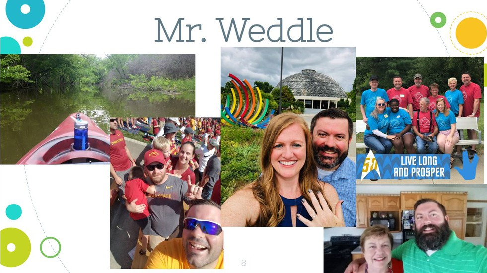 Picture collage of Mr. Weddle. Includes his wife and pictures of his family