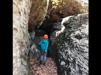 Entering one of the caves