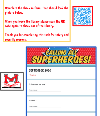 Please scan the QR code to check in and out of the library.