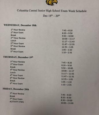 Junior High Exam Schedule