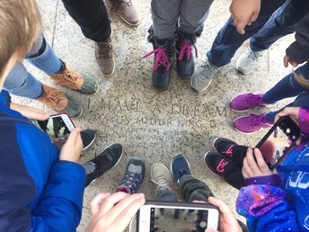"Many Feet Standing Where Dr. Martin Luther King Jr. Gave His ""I Have a Dream"" Speech at the Lincoln Memorial."