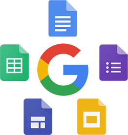 Google product icons arranged in a circle around the 'G'