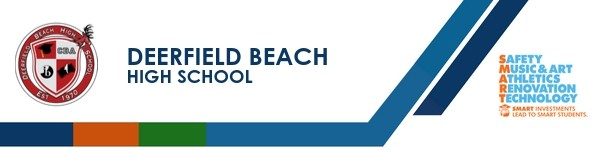 A graphic banner that shows Deerfield Beach High School's name and SMART logo