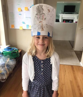Kelly made a volcano hat!