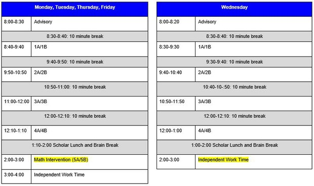 Middle School Bell Schedule