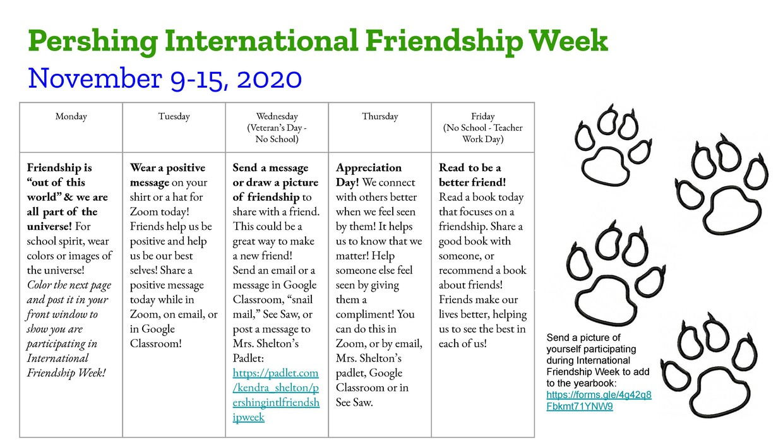 International Friendship Week Schedule