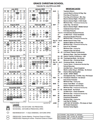 Click Here for a downloadable version of our Annual Calendar