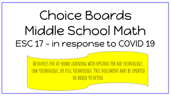 6-8 Math Choice Boards