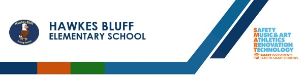 A graphic banner that shows Hawkes Bluff Elementary school's name and logo with the SMART logo