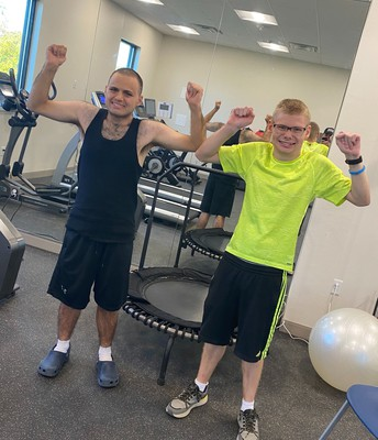 Working out in the fitness center!