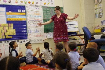 Ms. Lorenzi leads a class activity with her Kelly School kindergarten class.