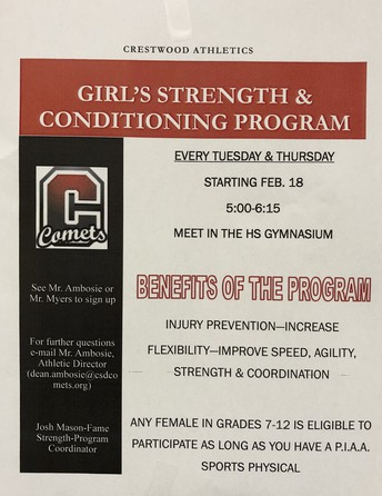 Crestwood Athletics sponsors Girl's Strength & Conditioning Program