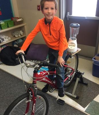 Brayden on the blender bike!