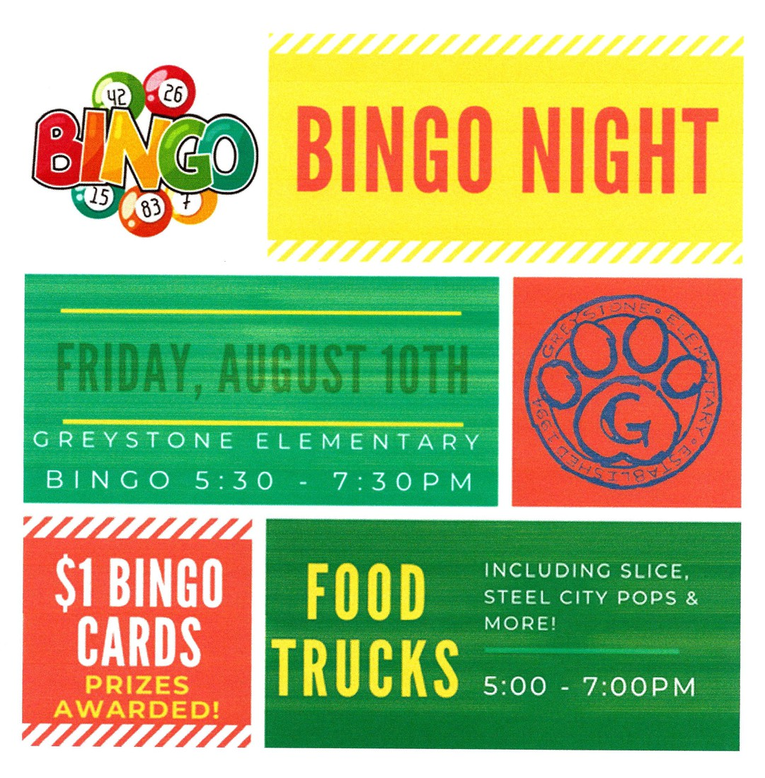 BINGO Night, Friday, August 10, 5:00 Food Trucks, 5:30 BINGO