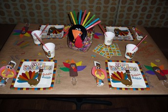 Keep them busy with a craft table!
