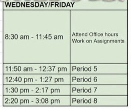 WED/FRI SCHEDULE - PM - Periods 5-8