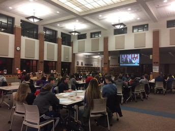 """Mrs. LaPietra, Mrs. Hale, and Mr. Ahlquist, hosted a State of the Union """"watch party"""" in the LMC!"""