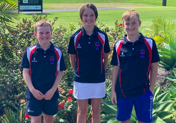 Max with golf team mates Kate and Jack