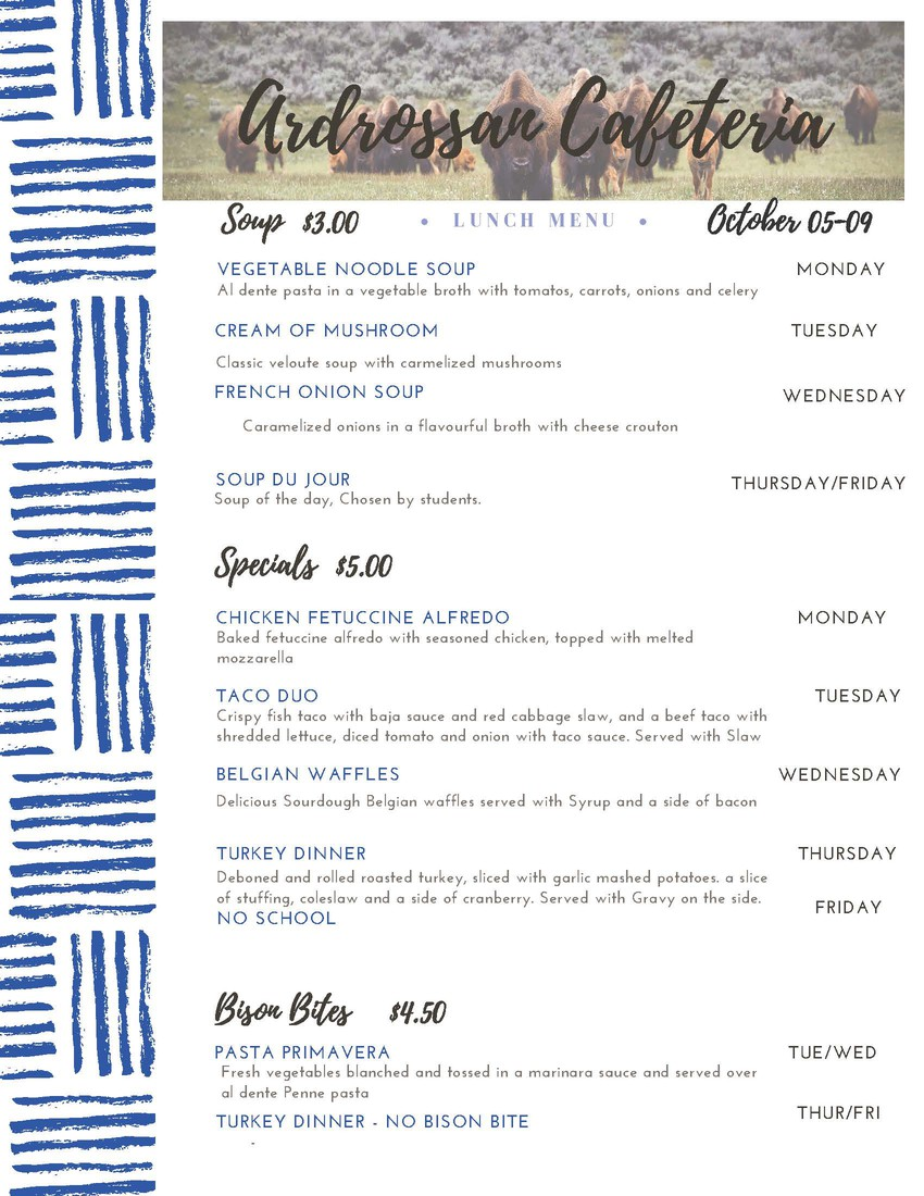 Weekly Lunch menu - Oct 5-9